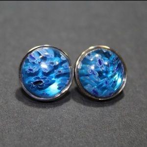 Blue Round Stud Earrings 316L